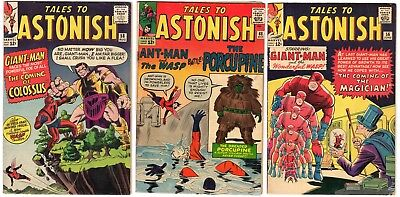 Tales to Astonish #48 56 58 Low Grade Marvel Ant Man Wasp Giant Man Marvel lot