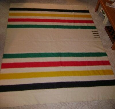 "Vintage 1920's Hudson's Bay 4 Point Wool Blanket 93"" x 72"""
