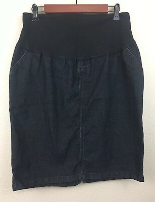 Duo Maternity Skirt Pencil Black Denim Career Casual Stretch Size Large