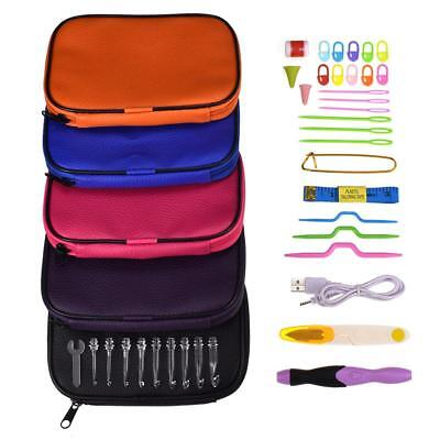 38pcs USB LED Light Rechargeable Crochet Hooks Sewing Needles Knitted Tool LY