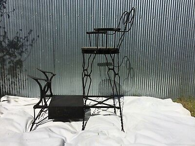 Rare Twisted Iron Shoe Shine Stand Makes a Perfect Chair for a Pool Room