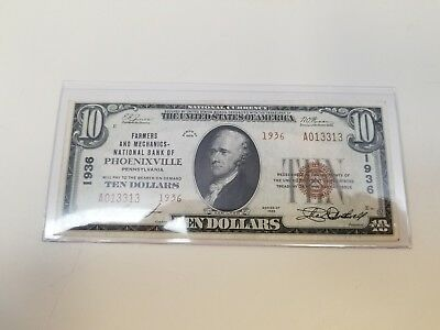 1929 - United States 10 Dollar Bill - National Bank Of Phoenixville, Pa