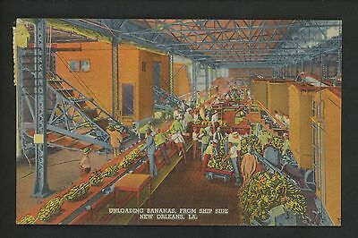 Industry Food postcard New Orleans, Louisiana LA Unloading Bananas from ship