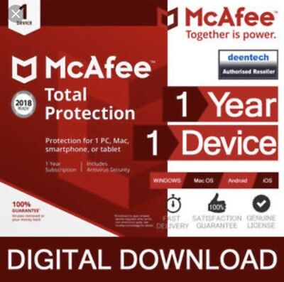MCAFEE TOTAL PROTECTION 2019 1 PC Device 1 Year Antivirus 2018 US