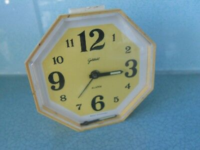 Vintage West Germany Goldbuhl Alarm Clock - Wind Up Movement - Octagonal