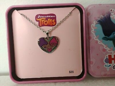 DREAMWORKS Trolls Stainless Steel Heart hugs all around Pendant Necklace New
