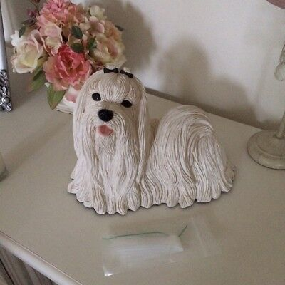 Maltese Dog Figurine Ornament Pet Cremation Memorial Urn (Secret Hidden Storage)