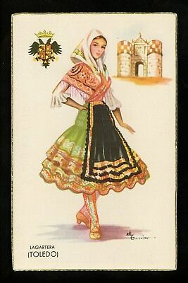 Costumes / Clothing postcard Toledo Spain Aritst Signed Gumier woman in dress