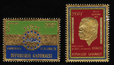 GABON C95 and C101 Mint Hinged TWO Stamps EMBOSSED ON GOLD FOIL