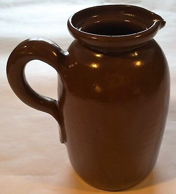 """Large 8"""" Bybee Kentucky Pottery Pitcher~Brown~Vintage~NO LID"""