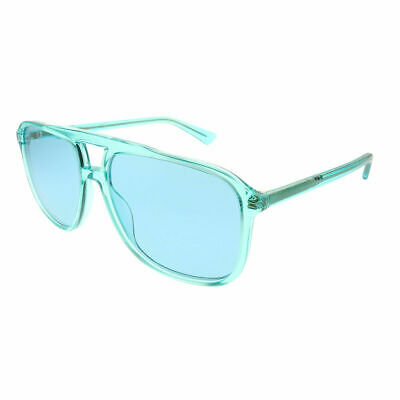 7ecc4bab7c Gucci GG 0262S 003 Light Blue Plastic Aviator Sunglasses Light Blue Lens