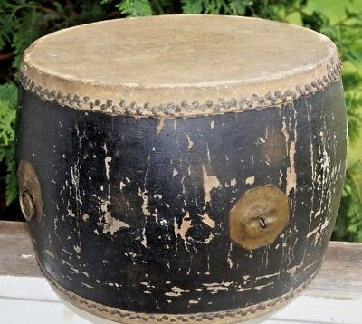 Antique 1800s Leather Canvas Wood Musical Instrument Bass Snare Percussion Drum
