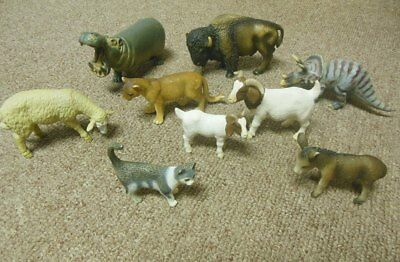 Lot of 9 Schleich animals - hippo, bison, cougar, donkey, sheep, cat, goats...