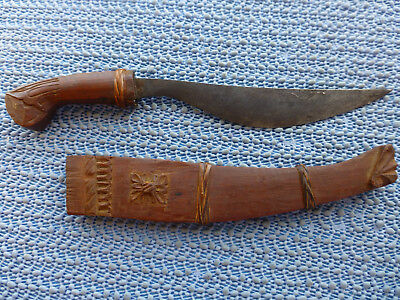 Vintage-Philippine-Bolo-Fixed Blade Knife & Hand Carved Wood Sheath-Lovely!