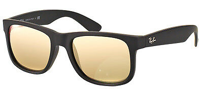 New Ray Ban RB4165 Justin 622/5A Black Rubber Sunglasses Gold Mirror Lens 51mm