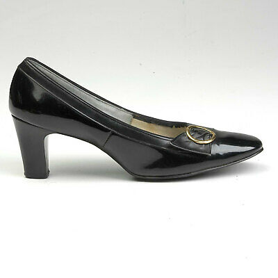 70182271cb2 sz 7 1960s Black Patent Shoes Round Gold Buckle Mod Short Chunky Heel  Narrow 60s