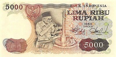 Indonesia 5000 Rupiah 1980 P 120a Series XZY Uncirculated Banknote