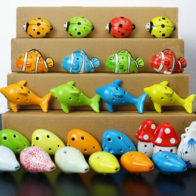 1PC 6 Hole a c Key ceramic handmade Mini ocarina flute toy LR
