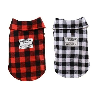 Plaid Sweater Dog Clothes Cotton Padded Pet Dog Jacket Apparel Black Red S-XXL