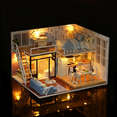 DIY Miniature Loft Dollhouse Kit Lifelike Mini 3D Wooden House Room H5V0