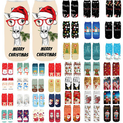 Women's Girls 3D Cartoon Christmas Crazy Cute Amazing Novelty Print Ankle Socks