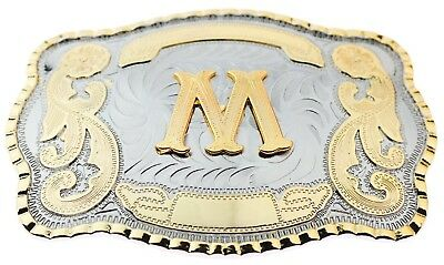 "Initial ""M"" Letter Large Gold & Silver Rodeo Western Cowboy Metal Belt Buckle"