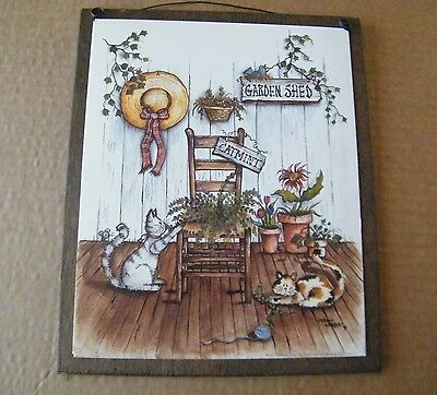 GARDEN SHED cat kitten Catmint country primitive floral cats decor wood sign