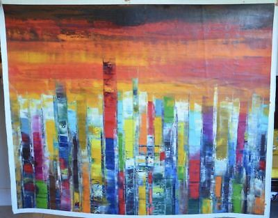 """""""Colorful Bars"""" by Tian Lu.  Original Oil Painting on Canvas, Hand signed, Dated"""