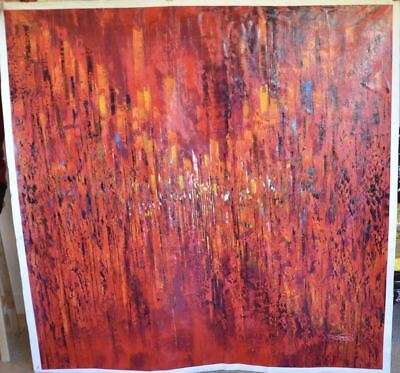 """""""Vibrant Flames"""" by Tian Lu. Original Oil Painting on Canvas, Hand signed, Dated"""