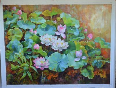"""""""Golden Lotus"""" by Tian Lu.  Original Oil Painting on Canvas, Hand signed, Dated."""