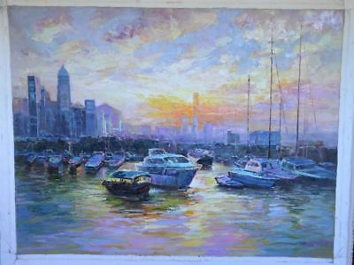 """""""Hong Kong Harbor"""" by Tian Lu.  Original Oil Painting on Canvas.  Hand signed."""