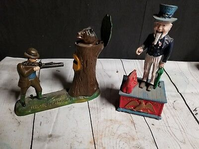 Teddy Roosevelt And Uncle Sam Repop Cast Iron Coin Bank