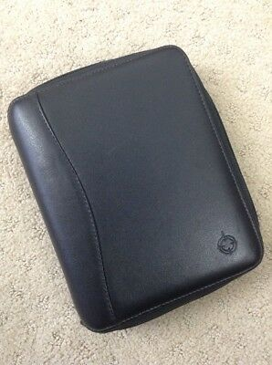 Franklin Covey Spacemaker Black Leather PDA Compact Planner 6 Ring Binder