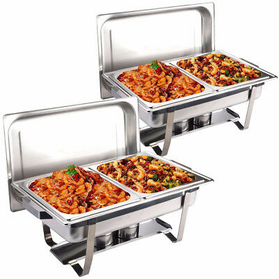 9L Bain Marie Bow Chafing Dish 4.5Lx2 Pan Stainless Steel Food Buffet Warmer Set