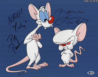 Pinky and the Brain cast signed autographed 11x14 photo! RARE! Beckett BAS COA!