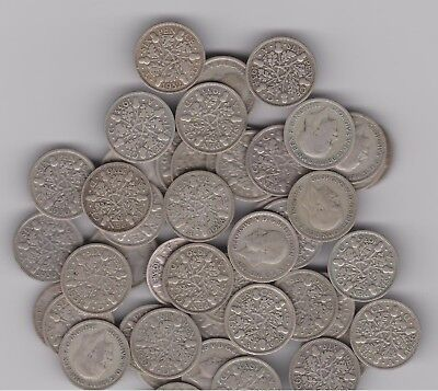 SILVER Sixpence (1) England (UK) .500 Silver 1928 through 1936 Randomly Selected