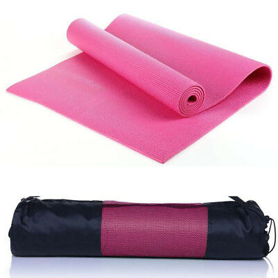 6mm Yoga Mat Thick PVC Exercise Pilates Health Gym Lady Fitness Pad W/ Carry Bag