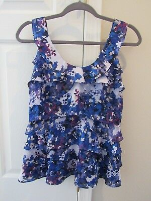5521203ca9fe4 White House Black Market Women s Blue Multi-color Sleeveless Tiered blouse  XS