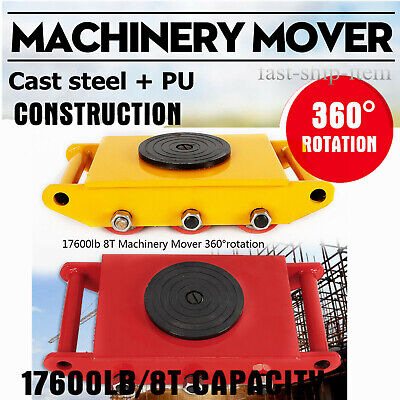 8 Ton 17,600lbs Heavy Duty Machine Dolly Skate Machinery Roller Mover w/360° Cap