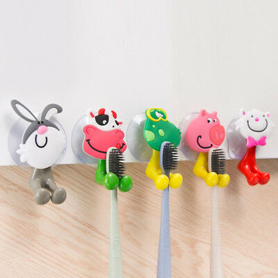 Wall Mounted Heavy Duty Suction Cup Antibacterial Toothbrush Holder Hooks Set L