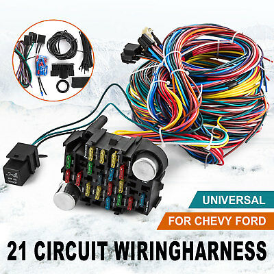 21 Circuit Wiring Harness Chevy Mopar Ford Hot Rods Universal Wire EZ To Install