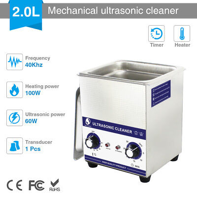 2L Digital Ultrasonic Cleaner Stainless Heated Ultra Sonic Tank Bath Cleaning UK