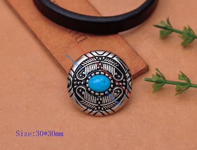 """5X Native Navajo Feather Flower Turquoise Leathercraft Concho 1-1/8"""" Screw Back"""