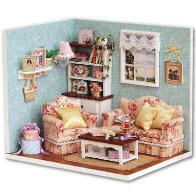 DIY Miniature Dollhouse Kit Realistic Mini 3D Wooden House Room Handmade Y5Q5