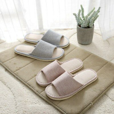 Men Women House Indoor Slippers Warm Casual Linen Plaid Shoes Sandals Anti-Slip