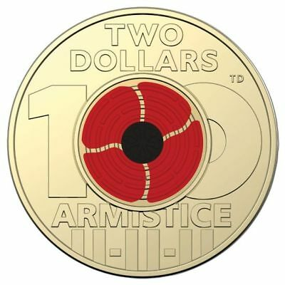 Remembrance Day 2018 - Centenary Red Poppy $2 Dollar Coin UNC Australia