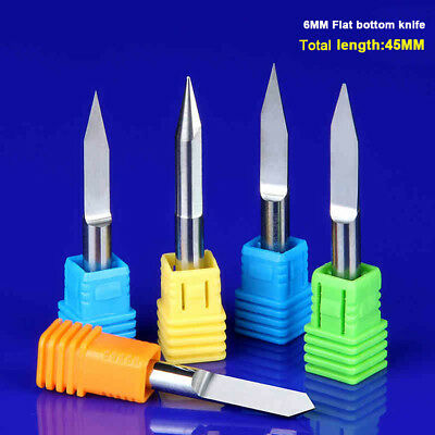 6mm Shank Carbide Flat Bottom Engraving Bits CNC Router Bits V Carving Cutters