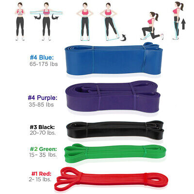 5 Level Heavy Duty Resistance Band Loop Power Gym Fitness Exercise Yoga Workout