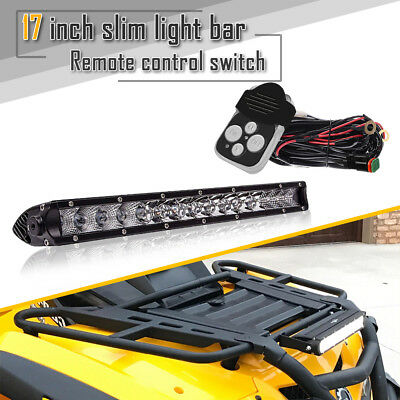 "17"" Single Row LED Light Bar Slim Combo Beam W/Remote Switch For Tractor Polaris"