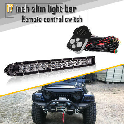 "17"" Single Row 80W Combo Beam+Remote Control On Bumper Grill For Golf Cart Truck"